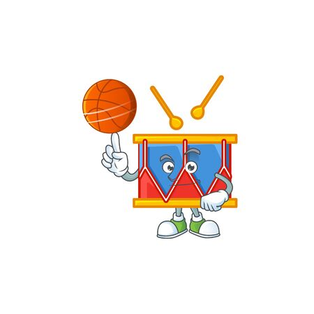 a strong independence day drum cartoon character with a basketball. Vector illustration Illusztráció