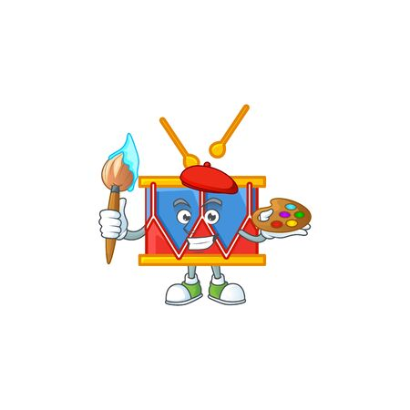 A cute picture of drum as an Artist having a brush. Vector illustration Illustration
