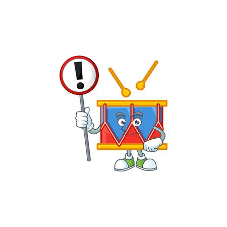 Cartoon character design of drum rise up a sign. Vector illustration Vettoriali