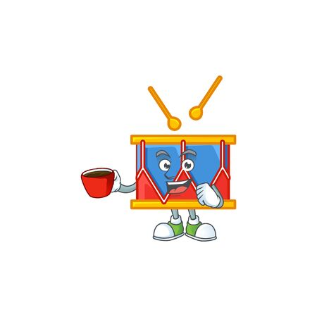 Cool independence day drum cartoon character with a cup of coffee. Vector illustration