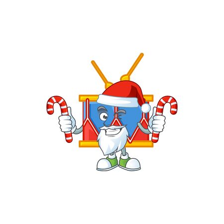 cartoon mascot style of independence day drum in Santa costume with candy. Vector illustration Illusztráció