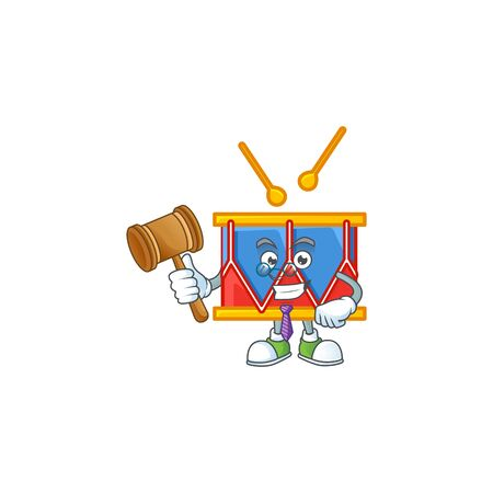 A wise Judge independence day drum in comic strip character design. Vector illustration