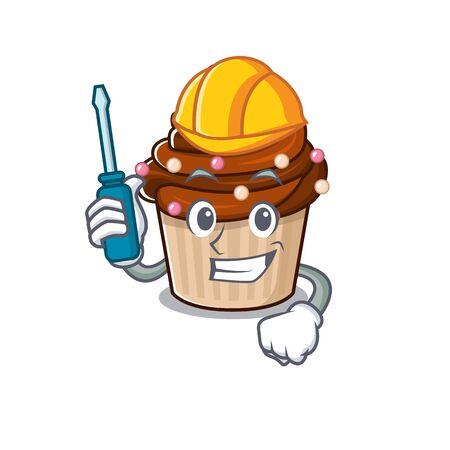 cartoon character style chocolate cupcake working as an automotive
