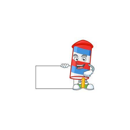 Cute funny rocket USA stripes cartoon character having a board. Vector illustration
