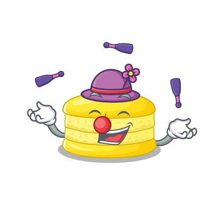 a lively lemon macaron cartoon character design playing Juggling