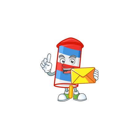 Happily rocket USA stripes mascot design style with envelope. Vector illustration