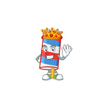 A dazzling of rocket USA stripes stylized of King on cartoon mascot design. Vector illustration