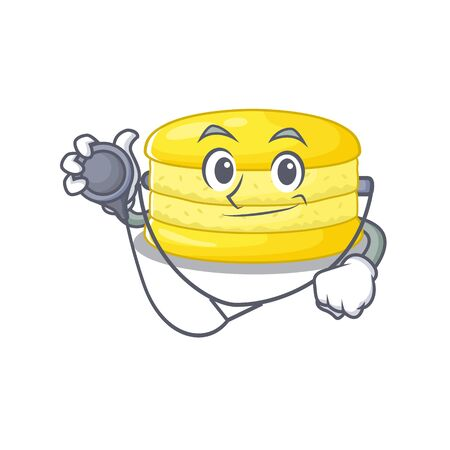 A mascot picture of lemon macaron cartoon as a Doctor with tools. Vector illustration