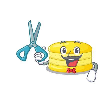 Cartoon character of Sporty Barber lemon macaron design style. Vector illustration