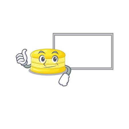 Thumbs up of lemon macaron cartoon design having a board. Vector illustration