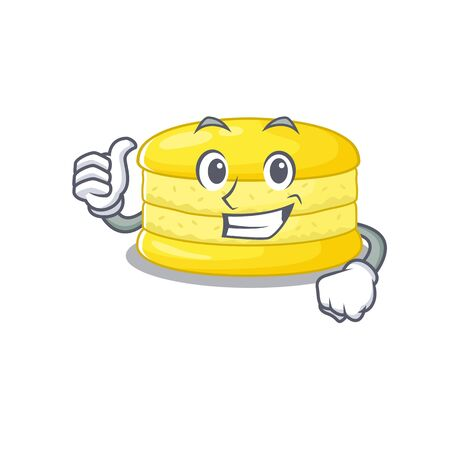 Funny lemon macaron making Thumbs up gesture 向量圖像