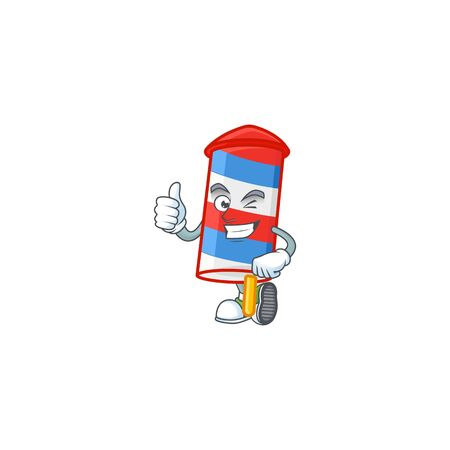 A mascot icon of rocket USA stripes making Thumbs up gesture. Vector illustration