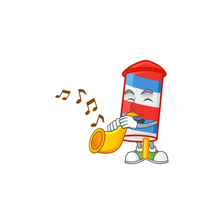 cartoon character style of rocket USA stripes playing a trumpet. Vector illustration