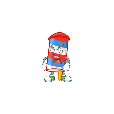 Rocket USA stripes cartoon character design with angry face. Vector illustration
