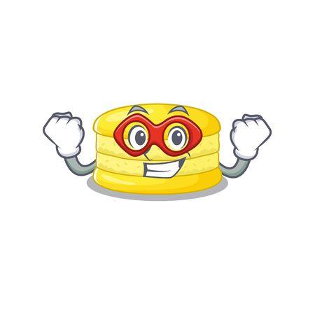 A cartoon concept of lemon macaron performed as a Super hero