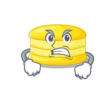 Lemon macaron cartoon character style having angry face 矢量图像
