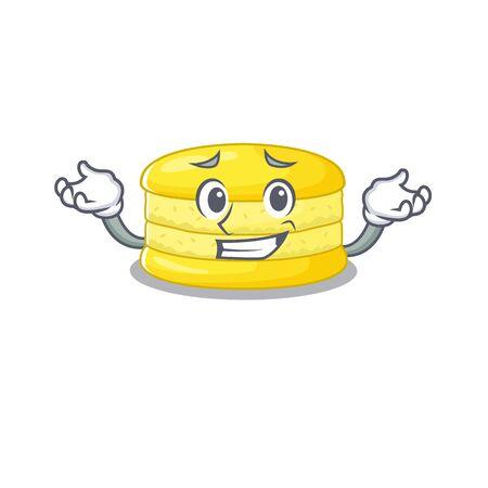 cute Grinning lemon macaron mascot cartoon style Stock Illustratie