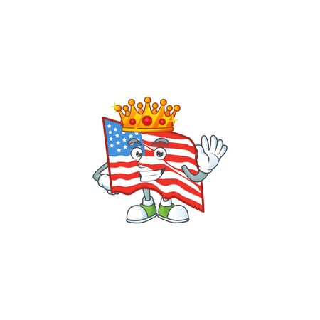 A dazzling of USA flag stylized of King on cartoon mascot design