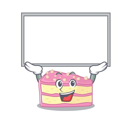 A strawberry slice cake mascot picture raised up board. Vector illustration
