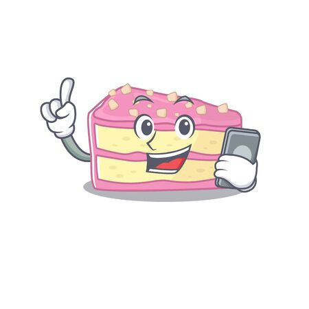 Strawberry slice cake Cartoon design style speaking on a phone. Vector illustration