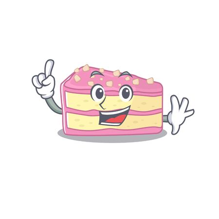 mascot cartoon concept strawberry slice cake in One Finger gesture. Vector illustration