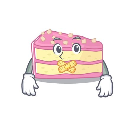 cartoon character design strawberry slice cake making a silent gesture. Vector illustration