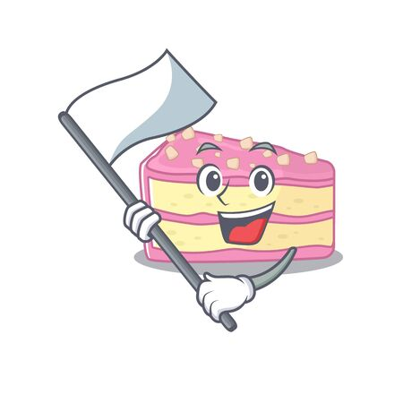 Funny strawberry slice cake cartoon character style holding a standing flag. Vector illustration Stock Illustratie