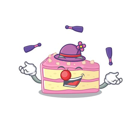 a lively strawberry slice cake cartoon character design playing Juggling. Vector illustration