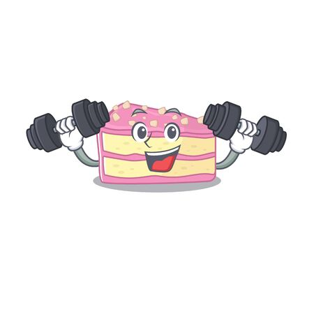 Sporty Fitness exercise strawberry slice cake mascot design using barbells. Vector illustration