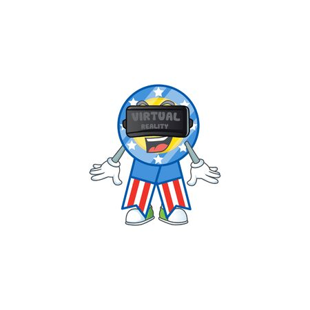 A smart character of USA medal with Virtual reality headset. Vector illustration