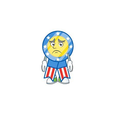 Cartoon character of a USA medal having an afraid face. Vector illustration