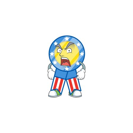USA medal cartoon character design with angry face. Vector illustration Vectores