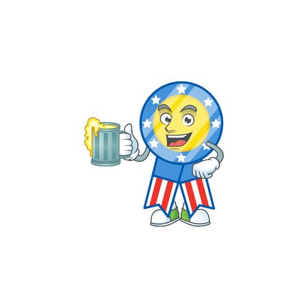 Smiley USA medal mascot design holding a glass of beer