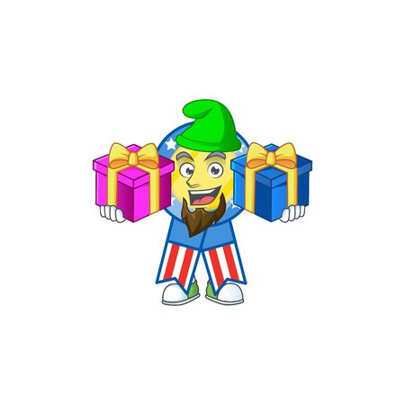 A charming USA medal cartoon mascot style with two boxes of gifts. Vector illustration