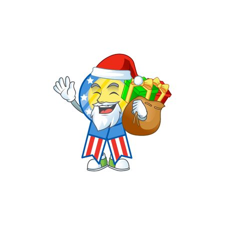 Santa USA medal Cartoon design having a sack of gifts