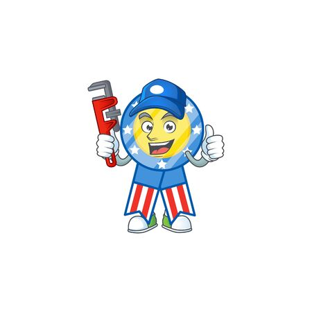 Smiley Plumber USA medal on mascot picture style Vectores