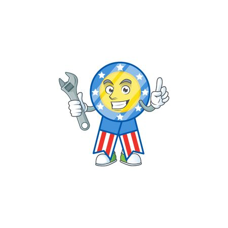happily Mechanic USA medal cartoon character design Ilustrace