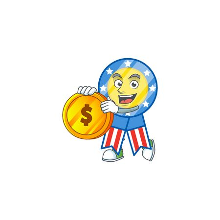an elegant USA medal mascot cartoon design with gold coin
