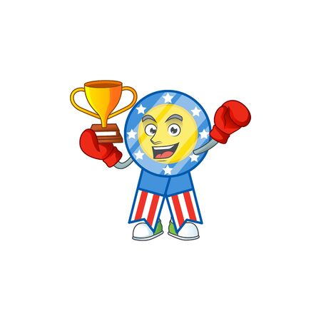 Super cool Boxing winner of USA medal in mascot cartoon design