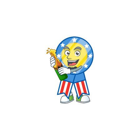 mascot cartoon design of USA medal having a bottle of beer. Vector illustration Ilustrace