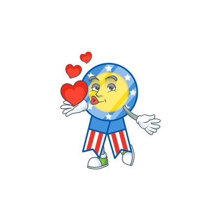 A sweetie USA medal cartoon character holding a heart