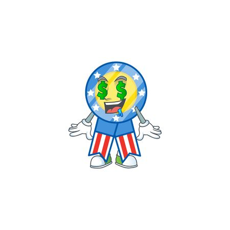 cartoon character style of USA medal with Money eye