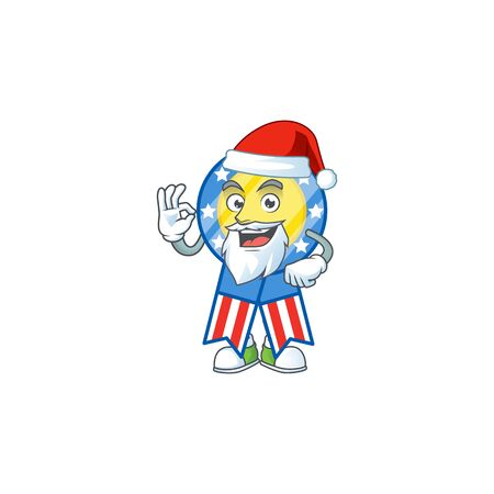 A lovely Santa USA medal mascot picture style with ok finger