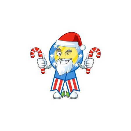 cartoon mascot style of USA medal in Santa costume with candy Ilustrace