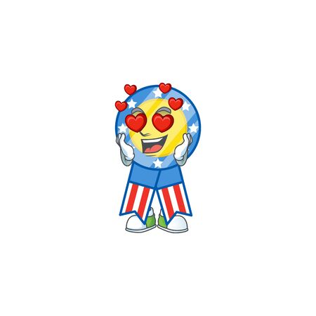 A romantic USA medal cartoon mascot design style