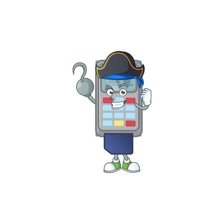 Calm one hand Pirate POS machine mascot design wearing hat. Vector illustration