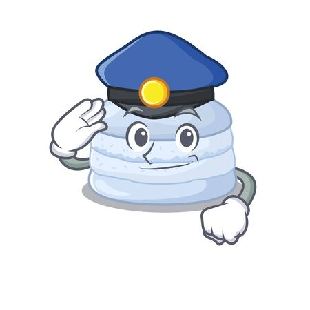 A manly blueberry macaron Cartoon concept working as a Police officer