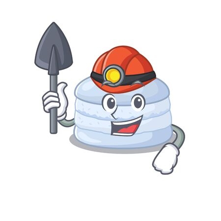 Cool clever Miner blueberry macaron cartoon character design