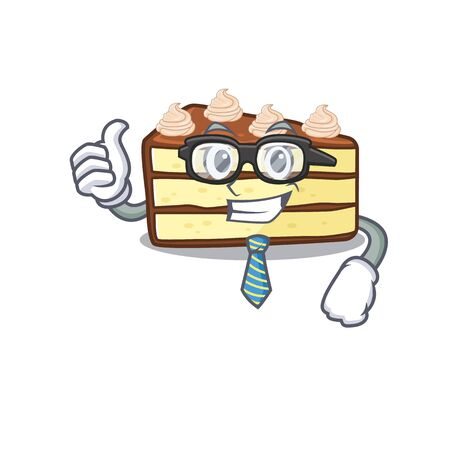 cool and smart Businessman chocolate slice cake wearing glasses