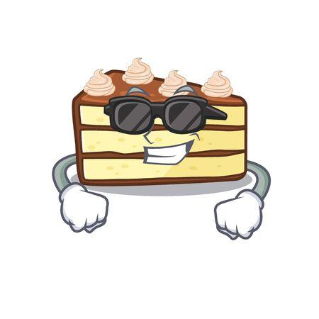 Super cool chocolate slice cake character wearing black glasses